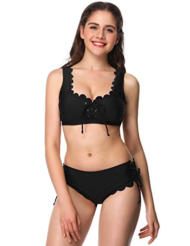 Verano Playa Women Lace Up Bikini Set Scalloped Two Piece Swimsuit Racerback Swimwear Front Tie Side Bottom Bathing Suit ()