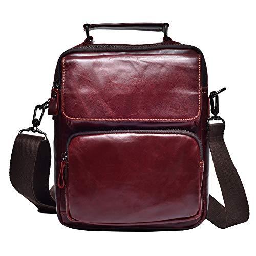 a vera borsa Xly da uomo pelle in a rosso tessuto marrone tracolla Borsa retro in tracolla wWFx8qzWtp