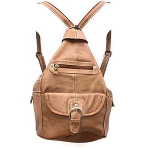 Womens Leather Convertible 7 Pocket Medium Size Tear Drop Sling Backpack Purse Shoulder Bag, Light Brown
