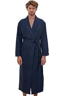 D.TopWarm Men's Sleepwear Lightweight Woven Striated Bathrobe With Shawl Collar