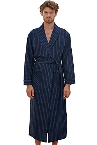 D.TopWarm Men's Lightweight Woven Robe Big & Tall Sizes Dark Blue Striated Bathrobe SY61 - Uk Shopping Next