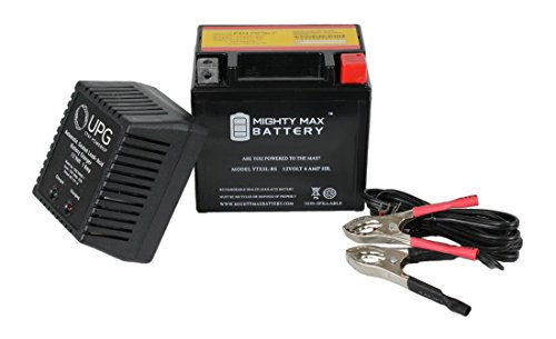 YTX5L-BS 12V 4Ah Replaces XC50 Classic Scooter + 12V 1 Amp Charger - Mighty Max Battery brand product (Battery Ac 12v 4ah)