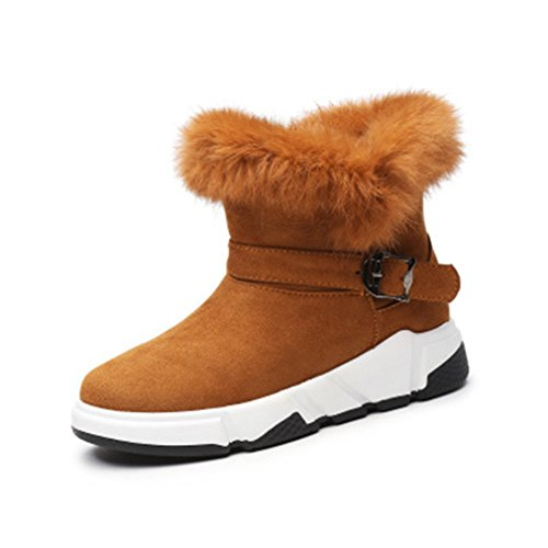GIY Womens Winter Suede Fur Snow Ankle Boots Velvet Lined Round Toe Flat Outdoor Belt Buckle Snow Boots Tan Vcquf