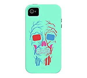 3D Skull iPhone 4/4s Aquamarine Tough Phone Case - Design By Humans wangjiang maoyi