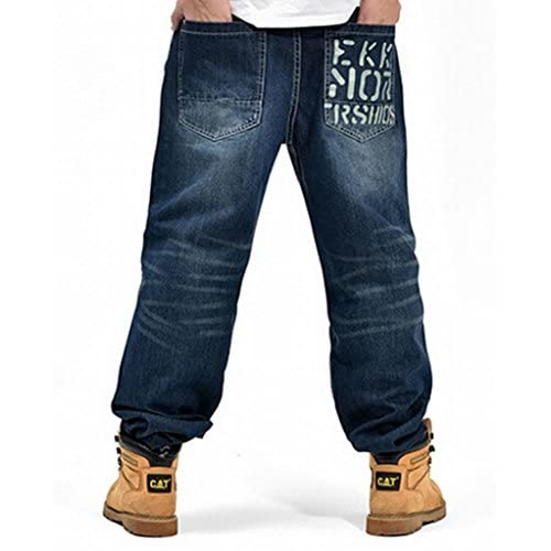49513a3261c5b5 Oberora Men Relax Cool Hip Hop Baggy Loose Fit Jeans Dark Blue high-quality