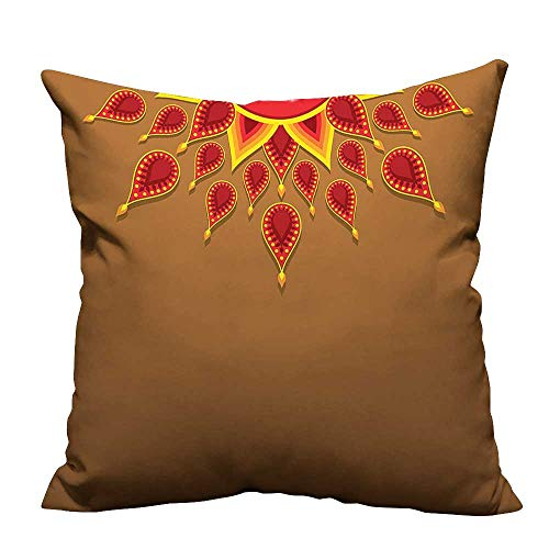 Brown Paisley Needlepoint (YouXianHome Zippered Pillow Covers Paisley Sun Beams Details F tive Celebrati Print Brown Decorative Couch(Double-Sided Printing) 21.5x21.5 inch)