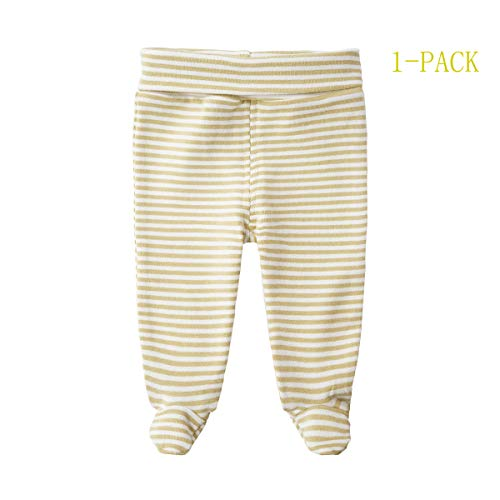 SYCLZ Baby Cotton High Waist Footed Pants Casual Leggings 0-12M (0-3M, Khaki Stripes)
