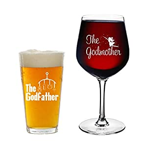 Godparents Announcement- 16 oz. Pint Glass, 12.75 oz. Wine Glass – Cool Present Idea for Godmother, Godfather, and Couples- Baptism or Christening Gift (Set of 2)