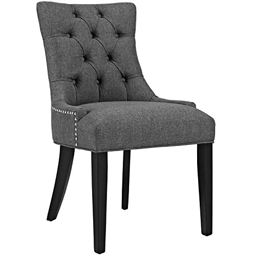 Modway Regent Modern Elegant Button-Tufted Upholstered Fabric Dining Side Chair With Nailhead Trim in GRY (Dining Upholstered Chairs)
