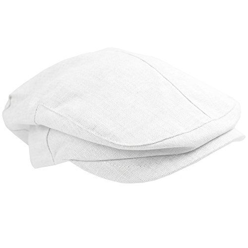 juDanzy Baby & Toddler Plaid Cabbie Hats (6-12 Months, White)