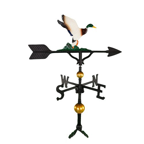 Montague Metal Products 32-Inch Deluxe Weathervane with Color Duck Ornament -