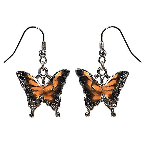 Boho Purple Blue Orange Black Enamel Silver Butterfly Drop Earrings for Women Perfect Gift for Women (Orange/Black)