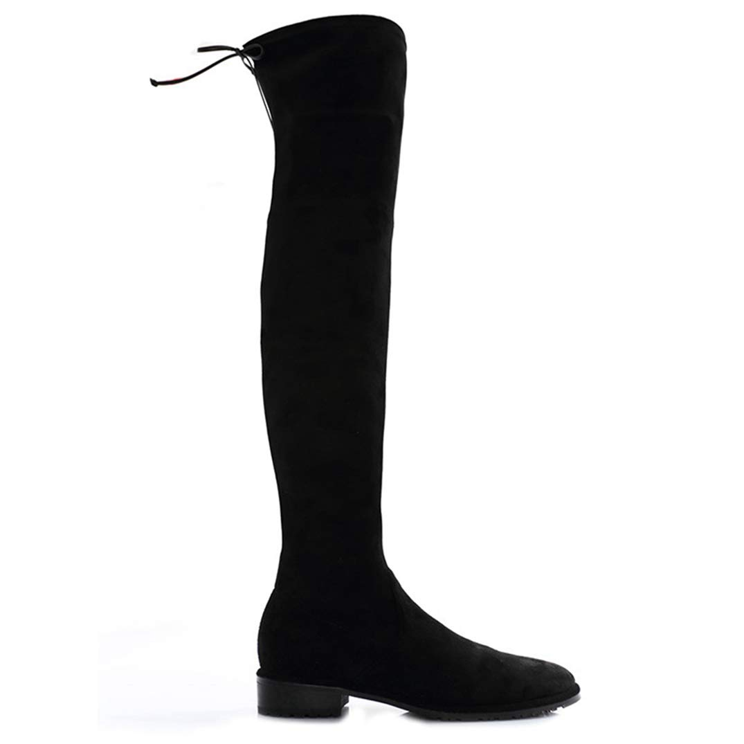 Black Over The Knee Boots Round Toe Slim Style Hoof Heels Thigh High Boots