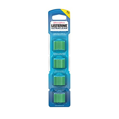 (Listerine Ultraclean Access Flosser Refill Heads, Mint, 28 Disposable Heads Per Package (5 Pack))