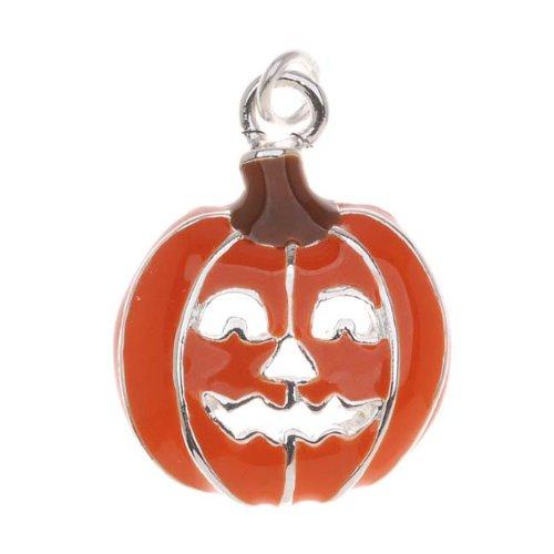 (Delight Beads Silver Plated with Orange Enamel Halloween Jack-O-Lantern Pumpkin Charm (1))