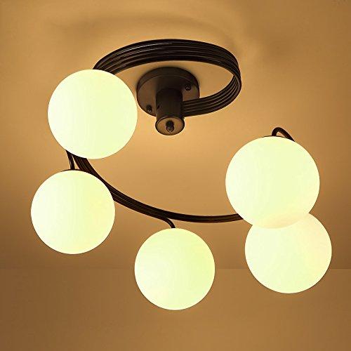 Lovedima Modern Globe Glass Shade Black Metal Swirl Arm 3-Light/5-Light Semi Flush Mount Ceiling Light ()