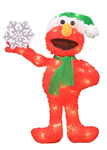 Lighted Christmas Lawn Ornaments (Product Works 24-Inch Pre-Lit Sesame Street Elmo with Snowflake Christmas Yard Decoration, 35 Lights)