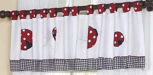 Sweet Jojo Designs Red and White Ladybug Polka Dot Window Valance ()