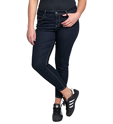 Silver Jeans Women's Plus Size Aiko Demi Straight Mid-Rise Ankle Skinny Jean, Dark Rinse, (Silver Jeans Embroidered Jeans)