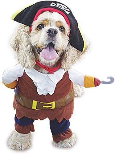 Mikayoo Pet Costume Fashion Pirates of The Caribbean Style Clothes Halloween Suit with a Hat Costume Apparel for Dog…