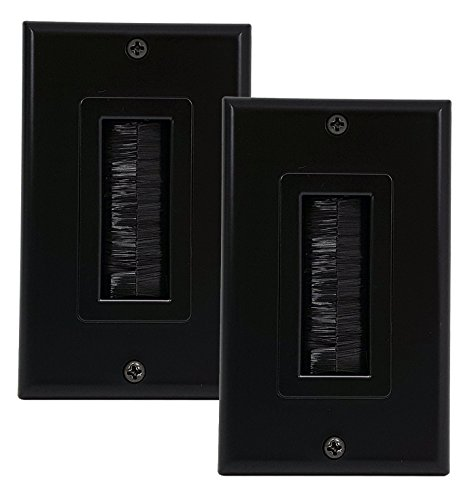 iMBAPrice (2-Pack) Black Single Gang Decor Style Brush Wall Plate - One Gang Wall Plate with Brush (Vga Decor Wall Plate)