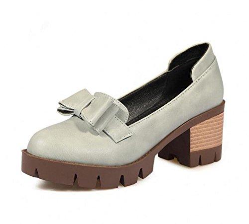 XIE Zapatos de la Mujer-Cerrado-Dedo del pie de los Zapatos arquean los Zapatos Cómodos de la Boca Baja Superficial, Gray, 37 GRAY-39