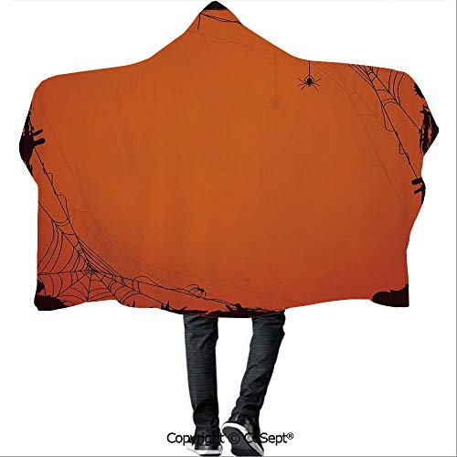 SCOCICI Hooded Blankets,Grunge Halloween Composition Scary Framework with Insects Abstract Cobweb,Warm Cozy Throw Blanket (59.05x51.18 inch),Orange -