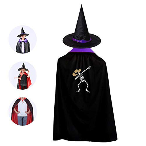 Kids Dab Skeleton Dabbing Cowboy Halloween Costume Cloak
