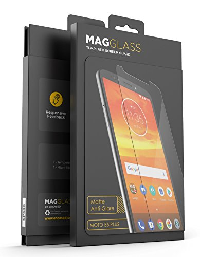 Magglass (Case Compatible) Moto E5 Plus Matte Screen Protector - Fingerprint Free Tempered Glass (Magglass XM90 Scratchproof/Shatterproof) Reinforced Anti Glare Screen Guard Motorola E5 Supra