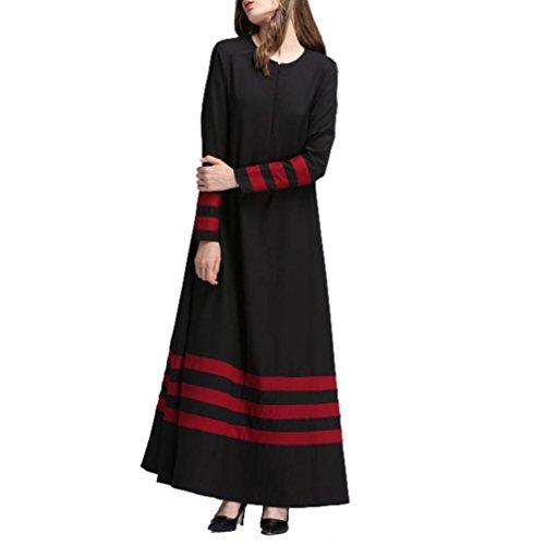 Dress Print Size Jalabiya ALISIAM Islamique Musulmane islamiques brod Dubai Rayures Orient Longue Caftan Musulmanes Noir Dress Femme Rayonne muslima Maxi Robe Plus Femmes Moyen Abaya Long HrHqIvwY