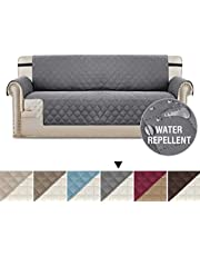 Sofa Protectors Waterproof from Pets/Dogs/Kids Sofa Covers 3 Seater Couch Covers Soft Quilted Furniture Protector with Non Slip Strap | 3 Seater Sofa, Checked Pattern, Reversible Grey/Beige
