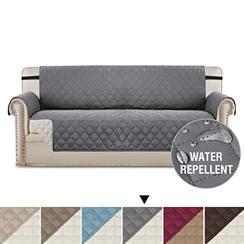 H.VERSAILTEX Sofa Cover Reversible Couch Slipcover Furniture Protector, 2 Inch Wide Elastic Strap, Machine Washable, Slipcover for Pets, Dogs, Kids (Sofa: Gray/Beige)