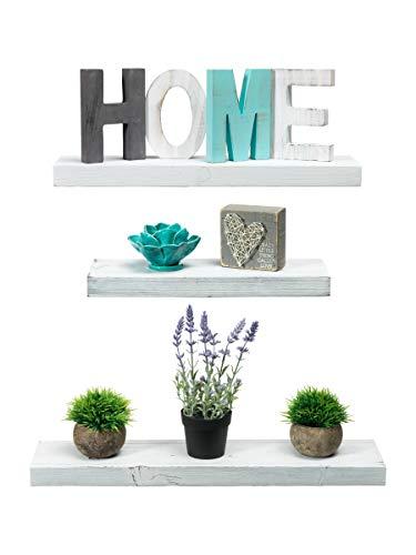 Rustic Farmhouse Square Box Shelf - Set of 3 White Wood Floating Decorative Shelves