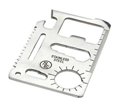 SE MT908-1 11-Function Stainless Steel Survival Pocket - Card Steel Stainless Multi Tool