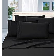 Elegant Comfort 1500-Thread-Count Egyptian Cotton Queen 4-Piece Bed Sheet Set, Black