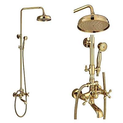 Rozin Bathroom Rainfall Tub Shower Faucet Combo 8-inch Top Showerhead + Hand Spray Gold Polished