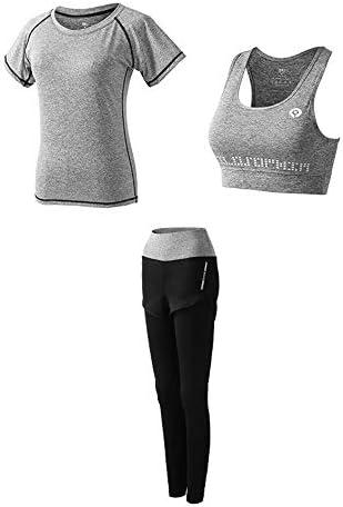 レディースジャージ上下セット レディース3ピース衣装スポーツボディコンクロップトップロングパンツトラックスーツ (Color : Gray, Size : XXXL)