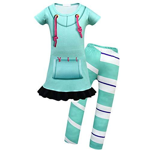 Vanellope From Wreck It Ralph Costume (Mukola Girls Vanellope Von Schweetz Sweatshirt Dress Legging Costume Pajamas for Kids)