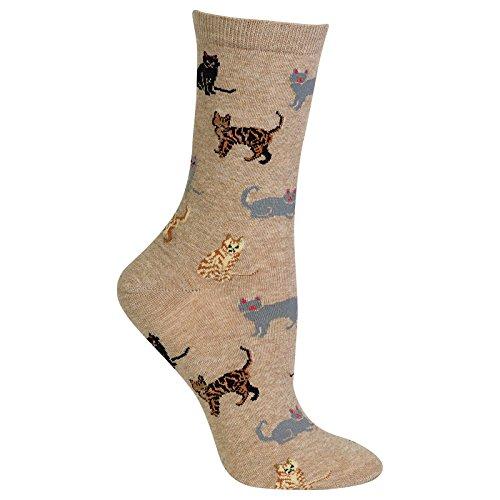 Hot Sox Women's Originals Classics Crew Socks, Cats (Hemp), Shoe Size 4-10/Sock Size 9-11