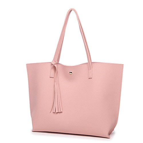 Tassels Top Womens 36 LINNUO Handle 10 Leather Large Handbags Tote for Shopper Bags 30cm Pink Capacity Maternity Silver Work with Bag Shoulder PU qW0ddEHrw