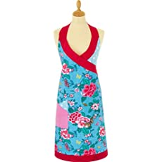 Blue and Red Vintage Floral Apron