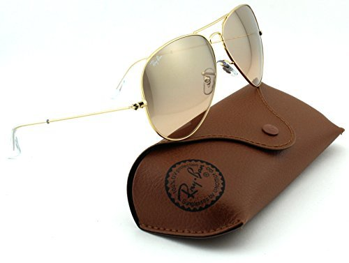 Ray-Ban RB3025 Aviator Large Metal Mirrored Unisex Sunglasses (Gold Frame/Crystal Brown Pink Silver Mirror Lens 001/3E, - Pink Ray With Ban Lenses Aviators