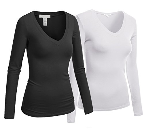 Hollywood Star Fashion Women's Long Sleeve V-Neck Tee Tank Top Shirt 2-Pack, Black/White, Medium (Sleeve Tank V-neck Top Long)