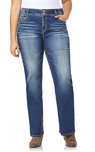 WallFlower Junior's Tall Plus-Size InstaStretch Luscious Curvy Bootcut Jeans, Twinkle, 20 Plus Long