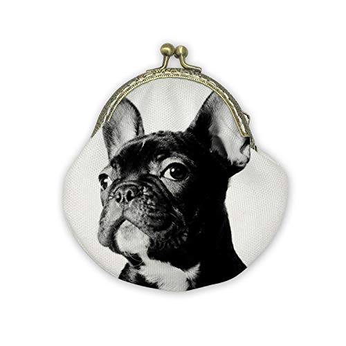 - French Bulldog Mouth Gold Bag Canvas Coin Purse Cash Bag Small Purse Wallets Mini Money Bag Change Pouch Key Holder Double Sides Printing