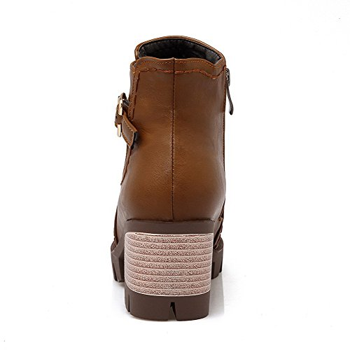 Soft Top Low Closed Women's Brown Round Heels Boots Solid AgooLar Toe Material Kitten q085wxa