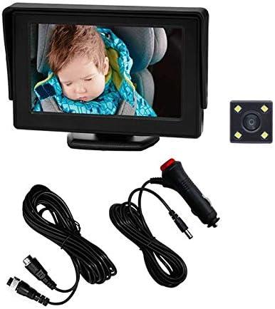 Fauge Baby Auto Spiegel voor Achterbank Achterkant Geconfronteerd met 4LED Verstelbare Monitor Cameramet Nachtzicht 43 Inch Display