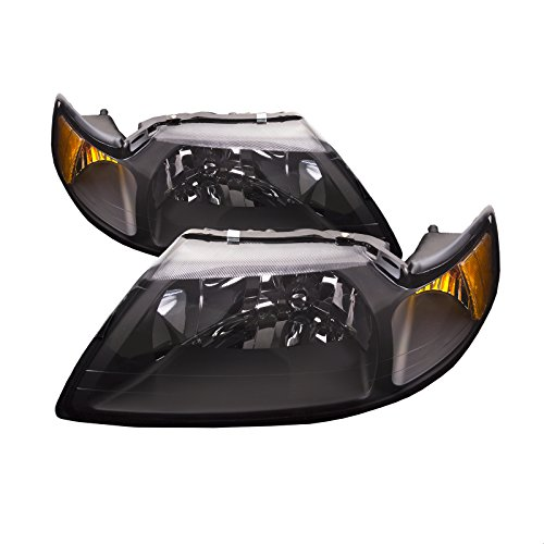 PERDE Compatible with Ford Mustang Headlight Set Black With Xenon Bulbs Driver/passenger Pair New ()