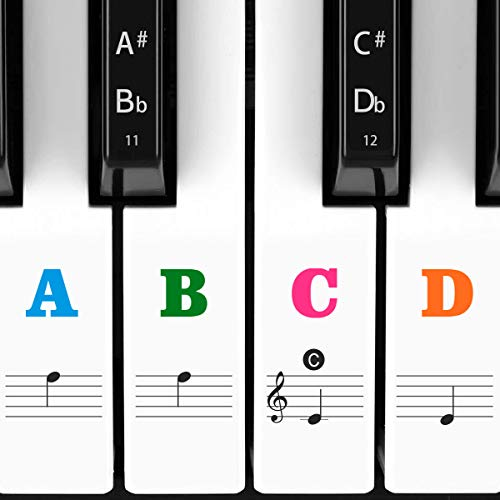 Piano Stickers for Keys, Eison Colorful Piano Keyboard Stickers for 88/61/54/49/37 Full Set Stickers Kids Learning Piano, Removable, Leaves No Residue, Multi-Color,Great Children