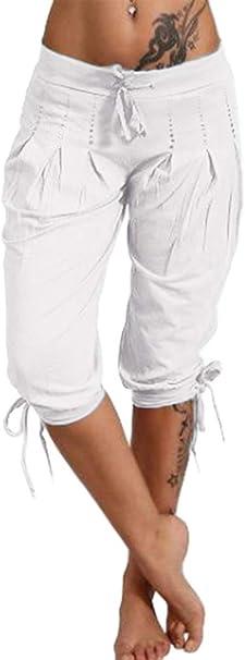 ShallGood Pantalons Femmes Ample Pantalon 3//4 Sarouel Pantalons Et/é Short Casual Boyfriend Pantalon Yoga Leggings Baggy Pantalons Taille Haute Pantacourt